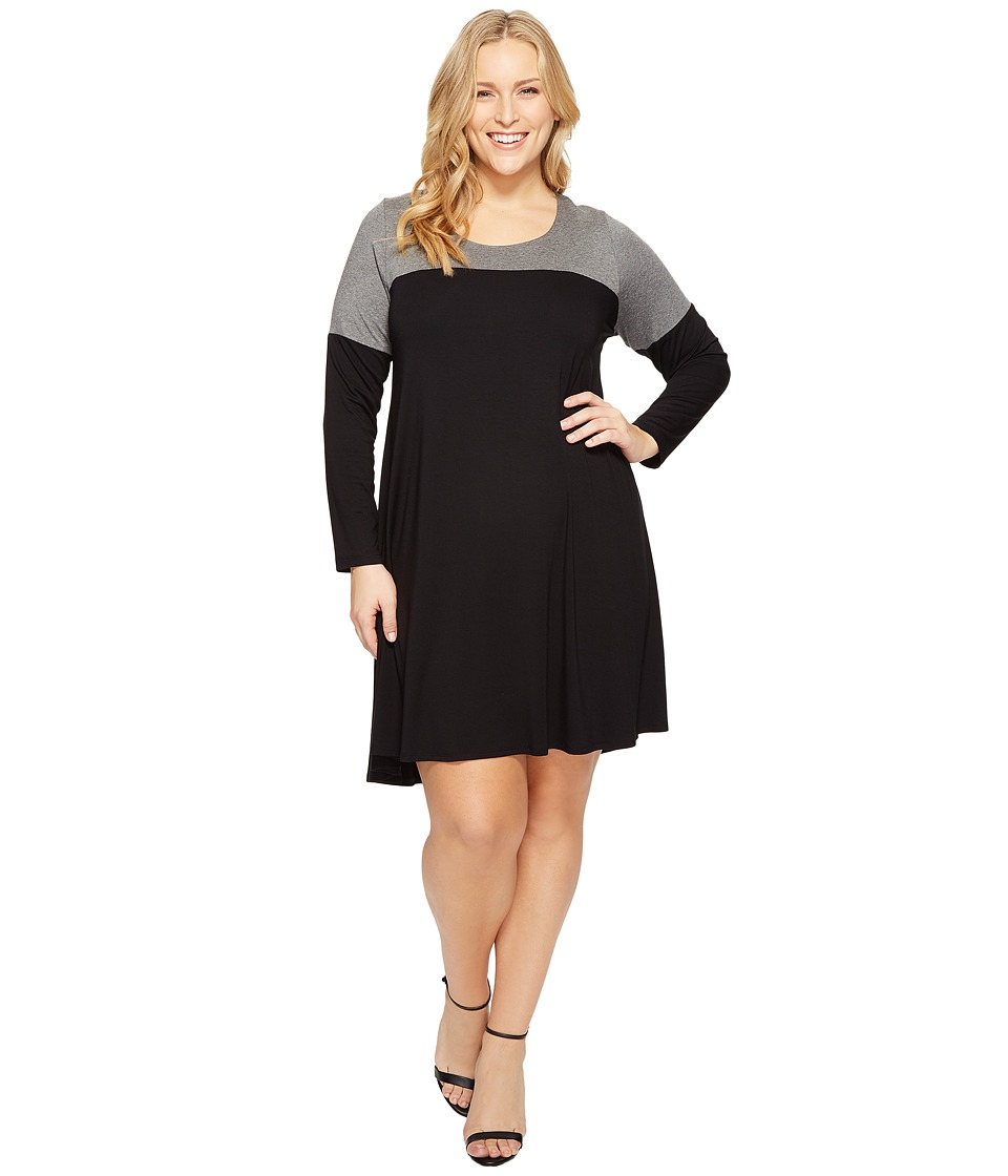 Karen Kane Plus - Plus Size Color Block Maggie Trapeze Dress (Black/Grey) Women's Dress