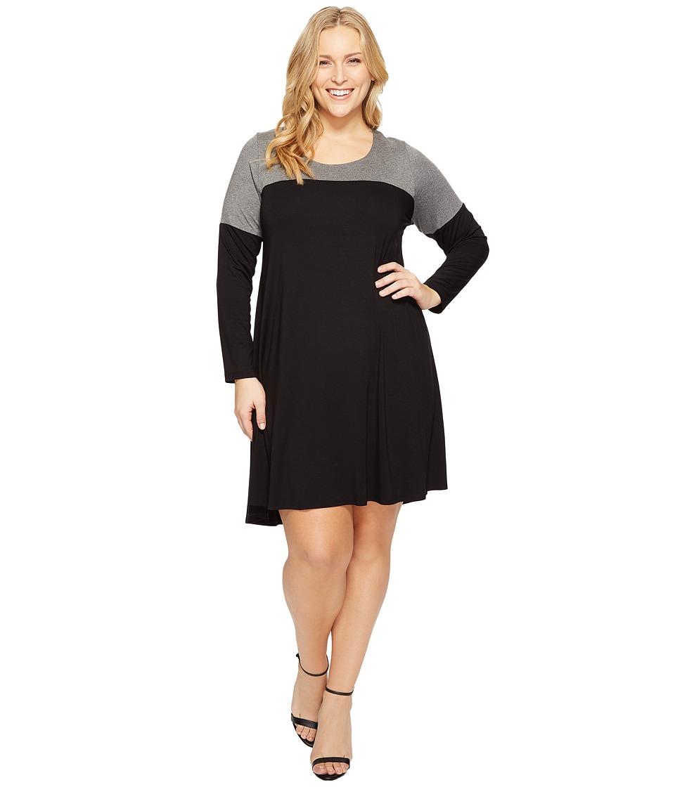 Karen Kane Plus Plus Size Color Block Maggie Trapeze Dress (Black/Grey) Women