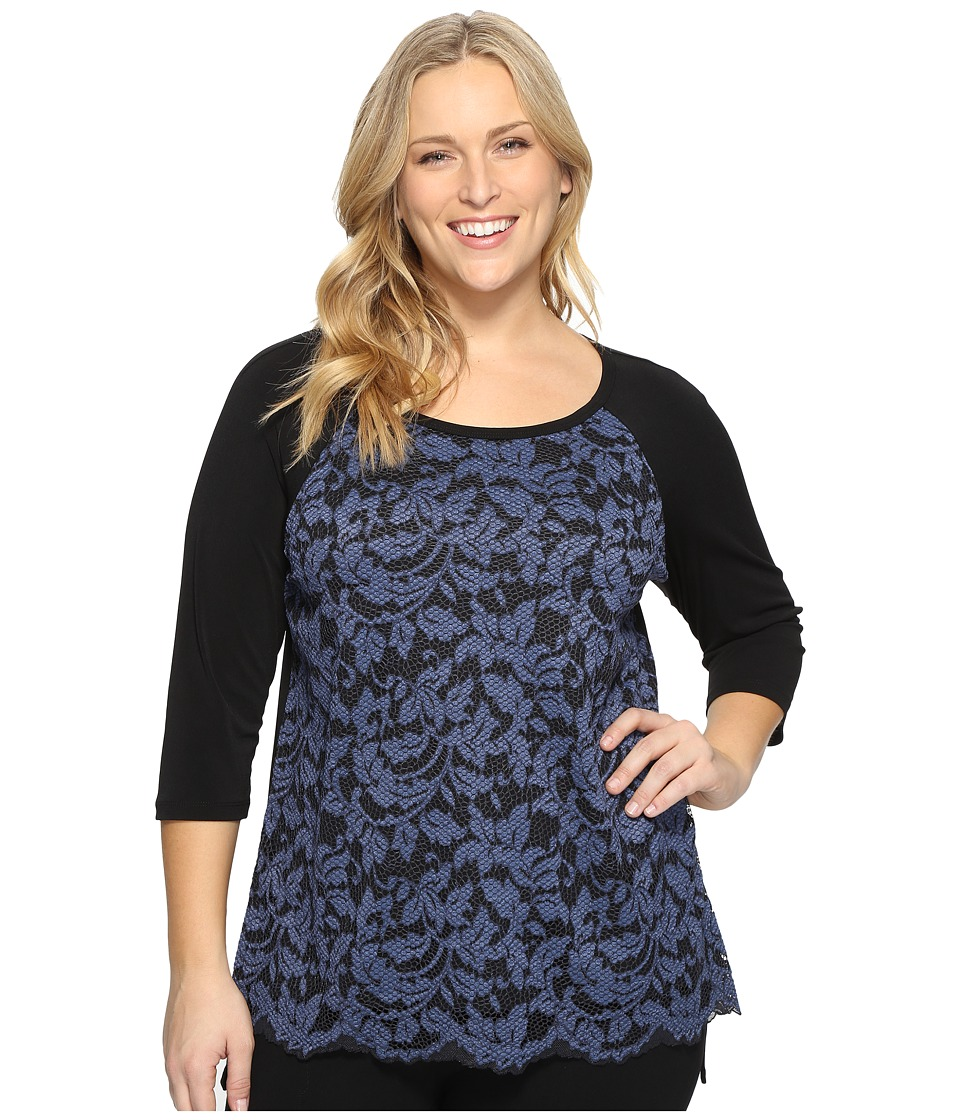 Karen Kane Plus - Plus Size High-Low Lace Front Top (Black/Blue) Women's Blouse