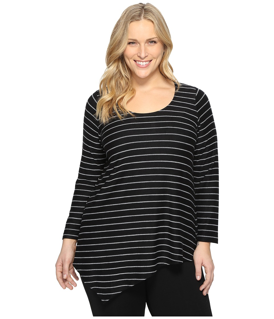 Karen Kane Plus - Plus Size Asymmetric Angled Top (Black Stripe) Women's Blouse