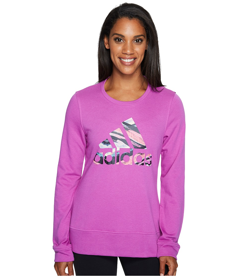 adidas - Badge Of Sport Serape Print Crew (Shock Purple/Multicolor) Women's Long Sleeve Pullover