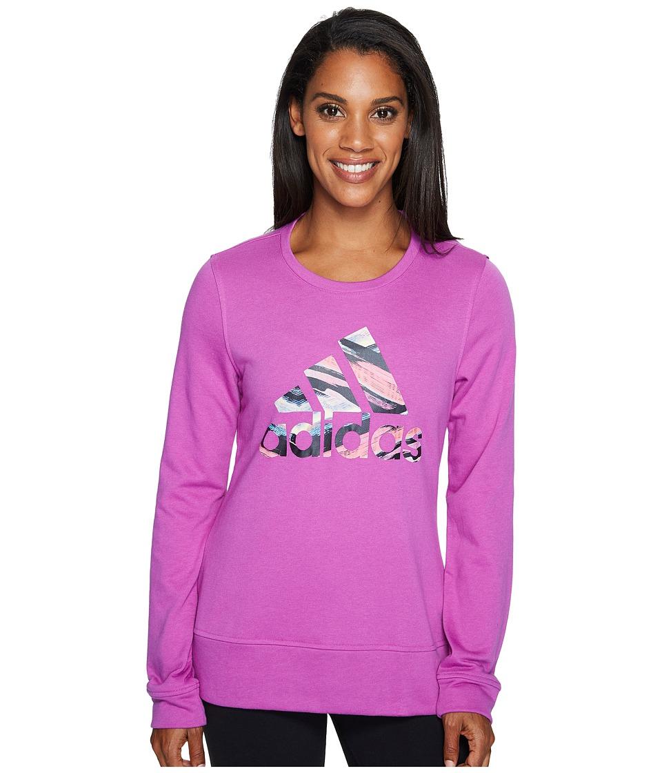 adidas - Badge Of Sport Serape Print Crew (Shock Purple/Multicolor) Women's Long Sleeve Pullover