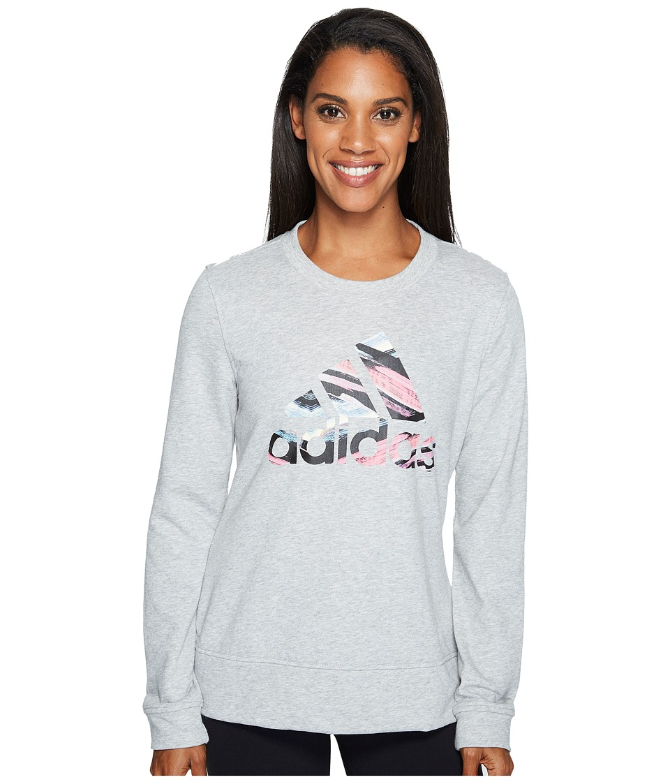 adidas - Badge Of Sport Serape Print Crew (Medium Grey Heather/Multicolor) Women's Long Sleeve Pullover