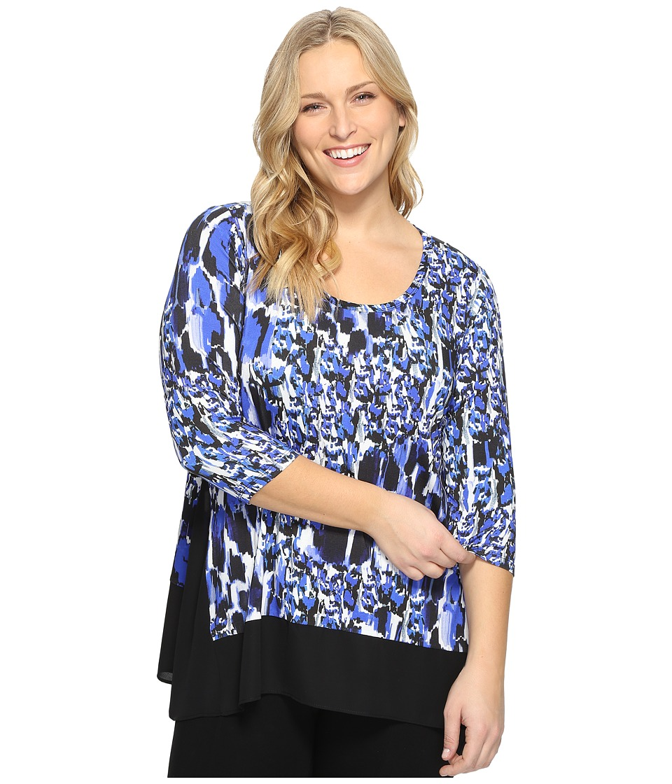 Karen Kane Plus - Plus Size Contrast High-Low Top (Bright Blue) Women's Blouse