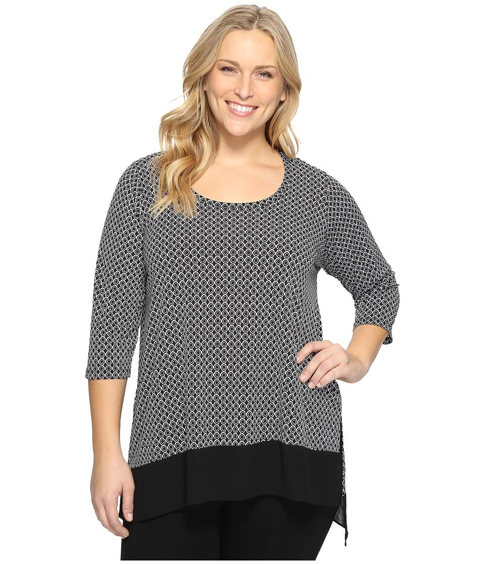 Karen Kane Plus - Plus Size Asymmetric Sheer Hem Top (Black/Off-White) Women's Blouse