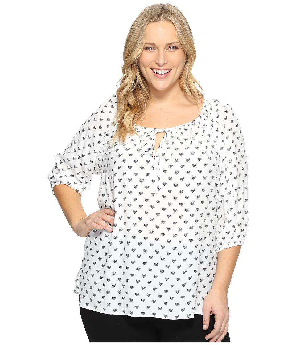 Karen Kane Plus - Plus Size Heart Keyhole Blouse (Print) Women's Blouse