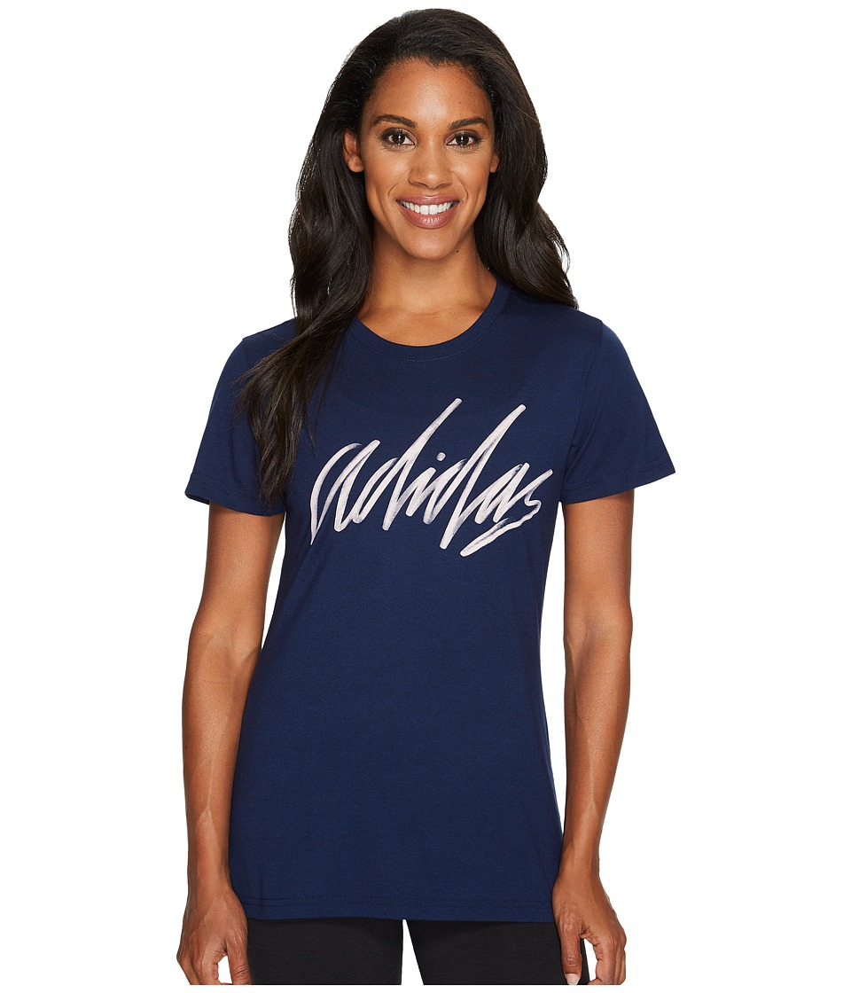 adidas - Adi Script Tee (Collegiate Navy/Haze Coral) Women's T Shirt