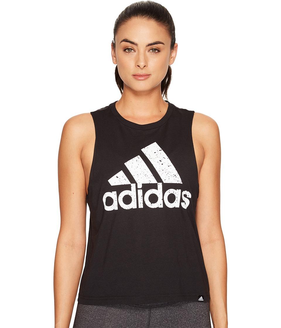 adidas - Speckled Badge Of Sport Boxy Tank Top (Black/White) Women's Sleeveless