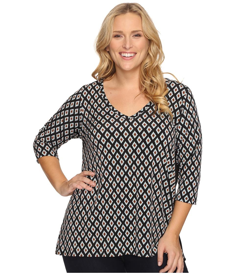 Karen Kane Plus - Plus Size Contrast Back Tunic (Print) Women's Blouse
