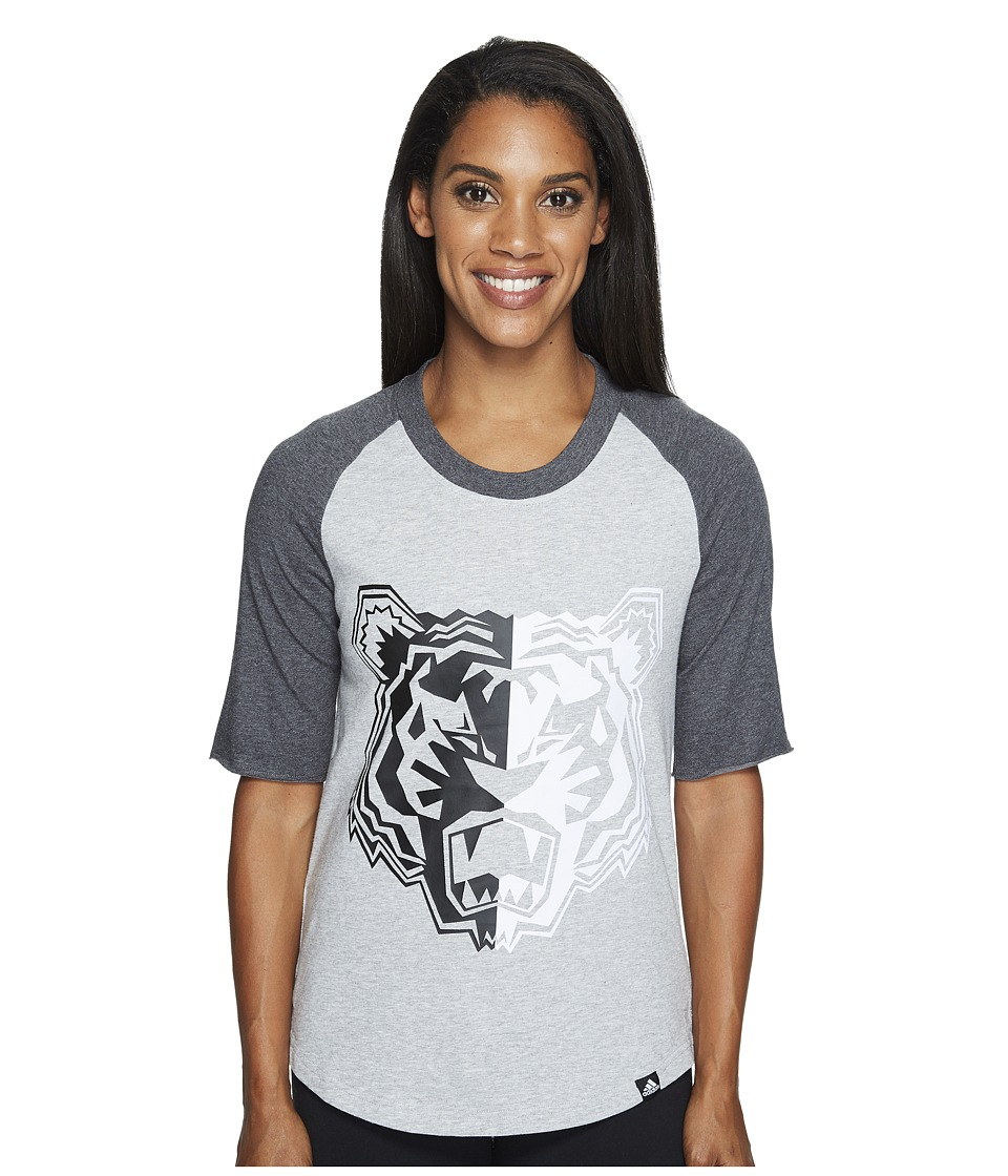 adidas - Tiger Mascot Baseball Tee (Medium Grey Heather/Dark Grey Heather/Black) Women's T Shirt