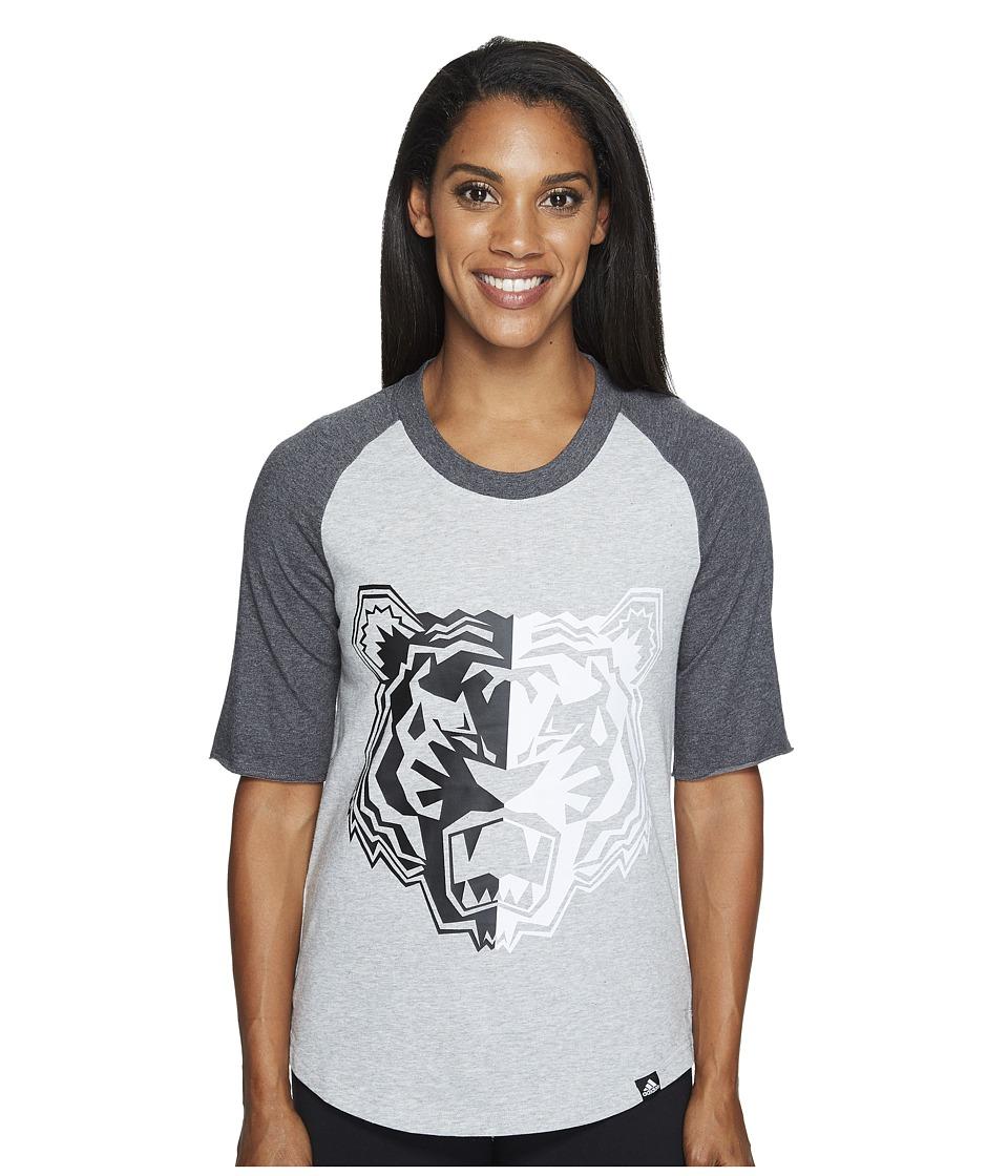 adidas - Tiger Mascot Baseball Tee (Medium Grey Heather/Dark Grey Heather/Black) Women's T Shirt