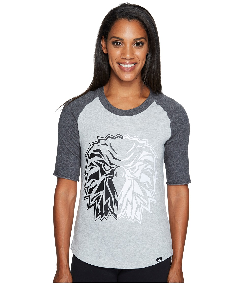 adidas - Bird Mascot Baseball Tee (Medium Grey Heather/Dark Grey Heather/Black) Women's T Shirt