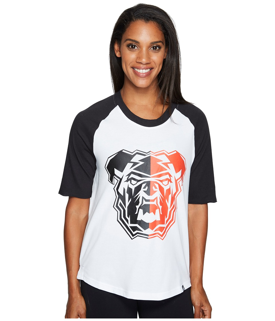adidas - Bulldog Mascot Baseball Tee (White/Black/Energy) Women's T Shirt
