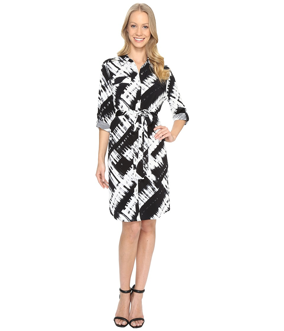 Calvin Klein - Printed Roll Sleeve Shirtdress (Black/White) Women's Dress