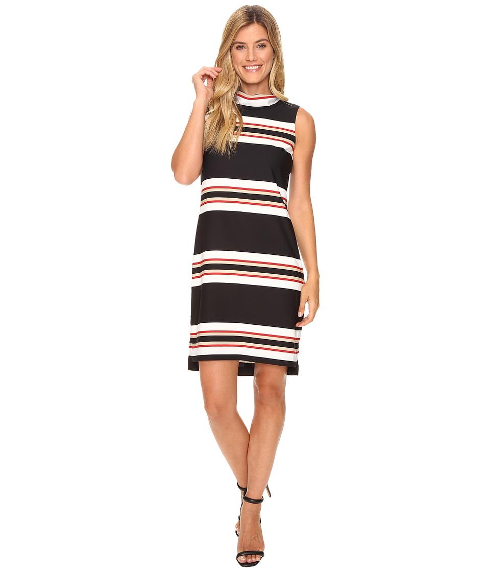 Calvin Klein - Sleeveless Mock Neck Dress (Black/White Combo/Black Ground) Women's Dress