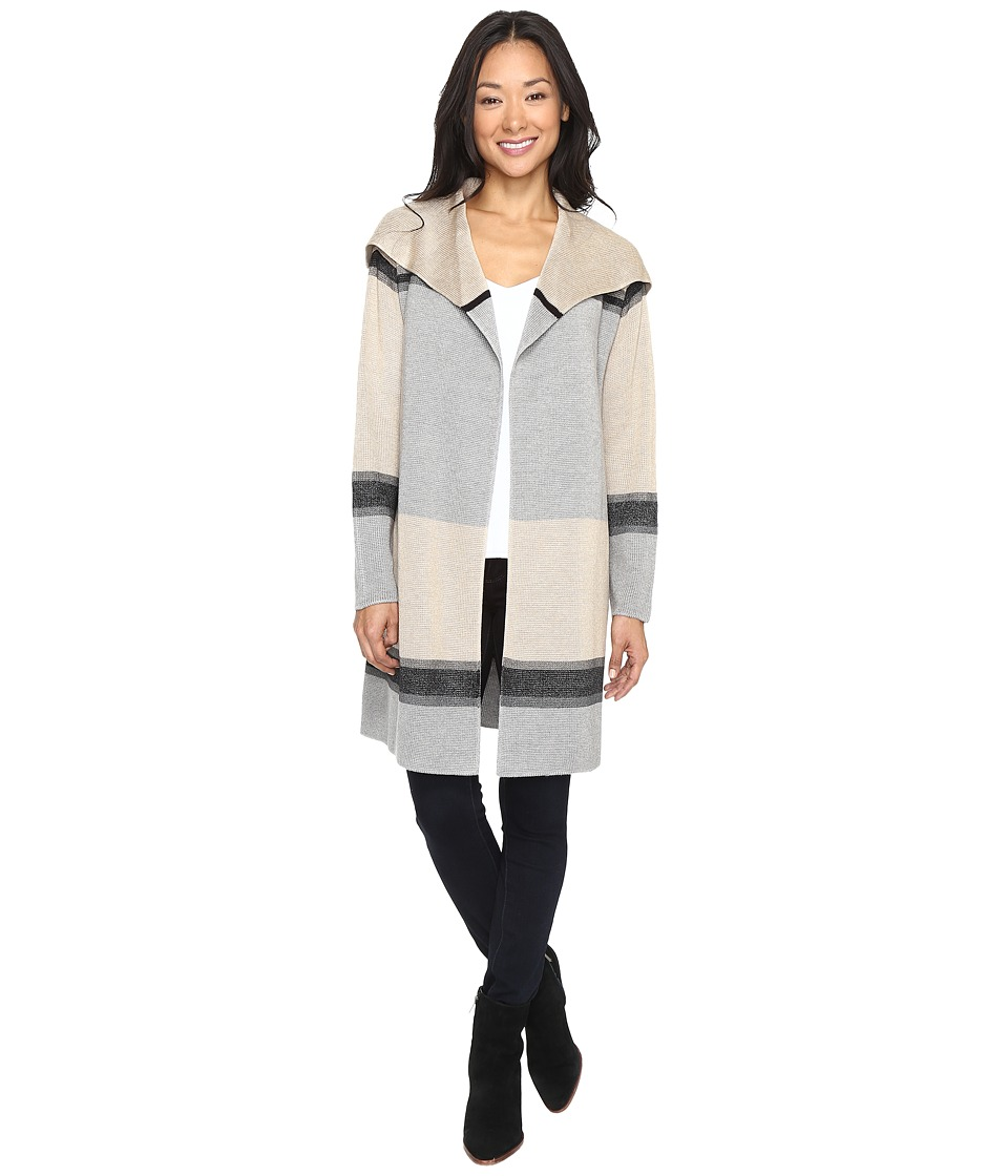Calvin Klein - Color Blocked Cardigan (Heather Latte/Heather Granite Combo) Women's Sweater