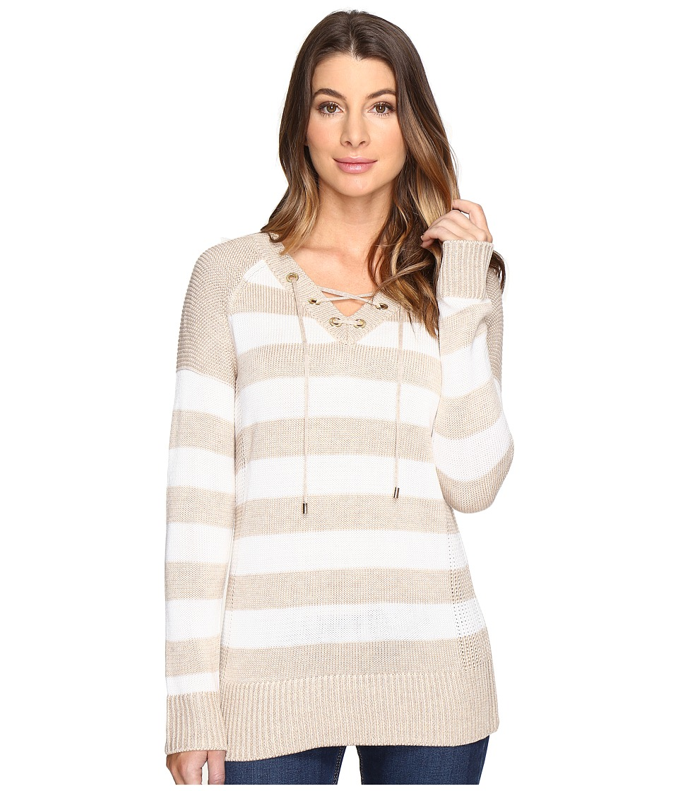 Calvin Klein - Striped Lace-Up Sweater (Heather Latte/Winter White Stripe) Women's Sweater