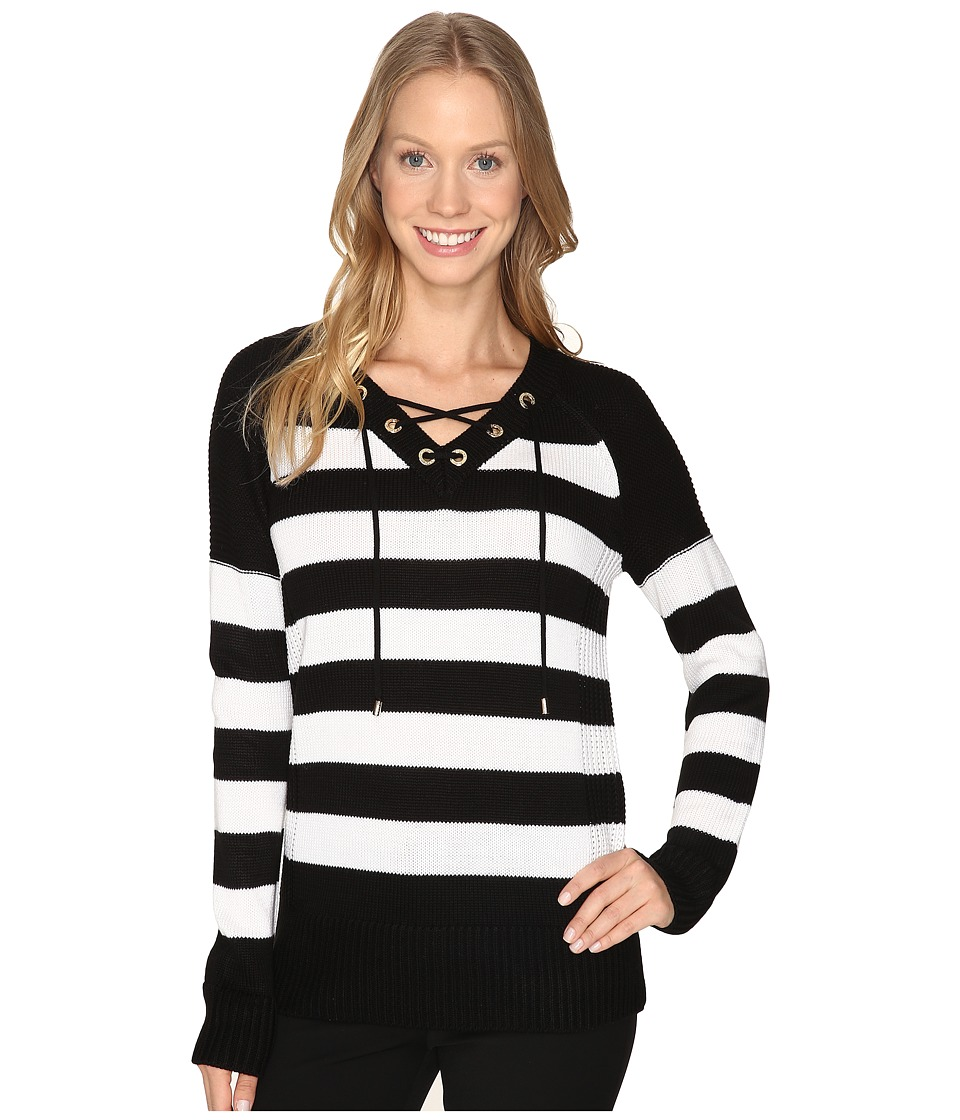 Calvin Klein - Striped Lace-Up Sweater (Black/White/Black) Women's Sweater