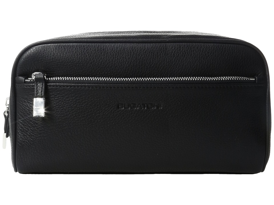 BUGATCHI - Pebble Leather Full Grain Toiletry Bag (Black) Bags