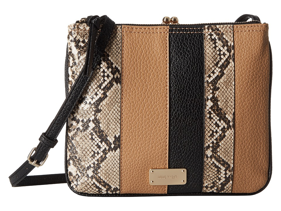 Nine West - Jaya Frame Crossbody (Dark Camel/Black/Truffle Multi) Cross Body Handbags