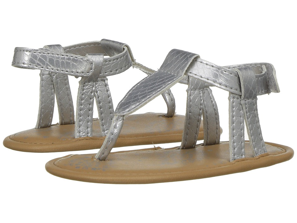 Baby Deer - Iridescent Thong Sandal (Infant) (Silver) Girls Shoes