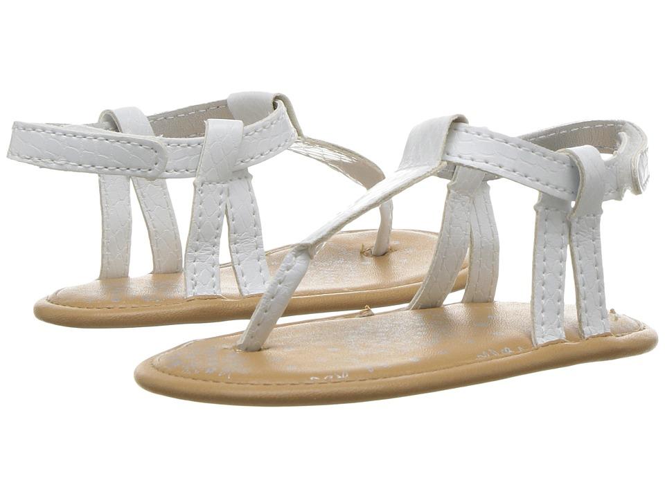 Baby Deer Iridescent Thong Sandal (Infant) (White) Girls Shoes