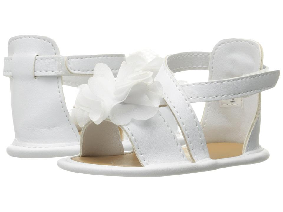 Baby Deer Crisscross Sandal with Flower (Infant) (White) Girls Shoes