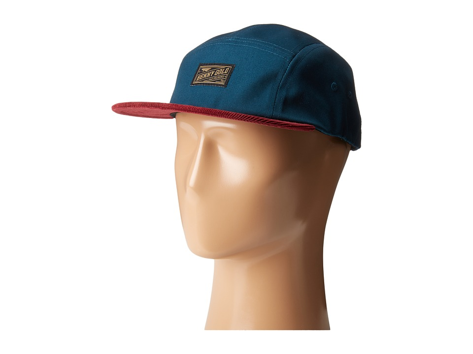 Benny Gold - Stamp Corduroy Brim 5-Panel Hat (Navy/Burgundy) Caps