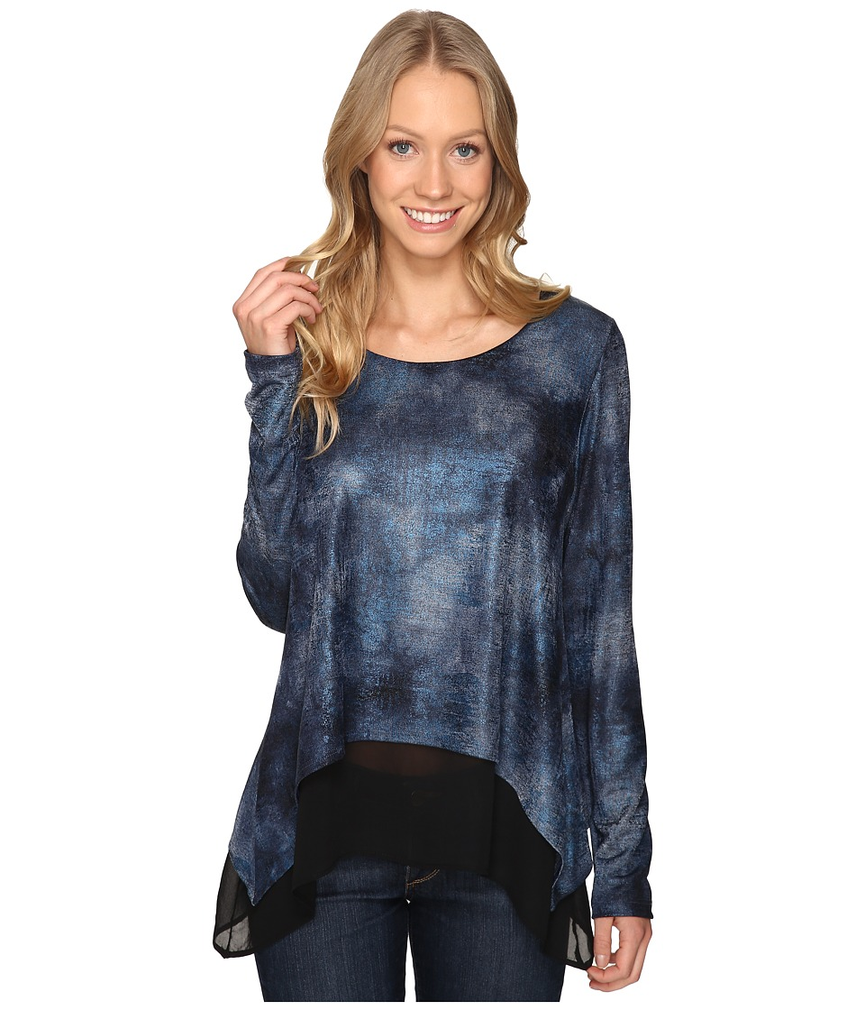 Karen Kane - Layered Contrast Hem Top (Blue) Women's Clothing