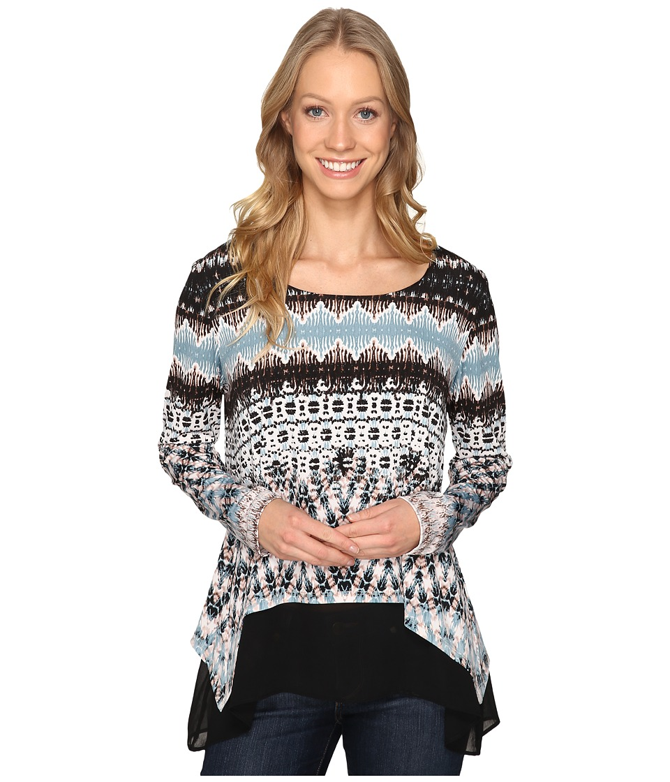 Karen Kane - Layered Contrast Hem Top (Print) Women's Clothing