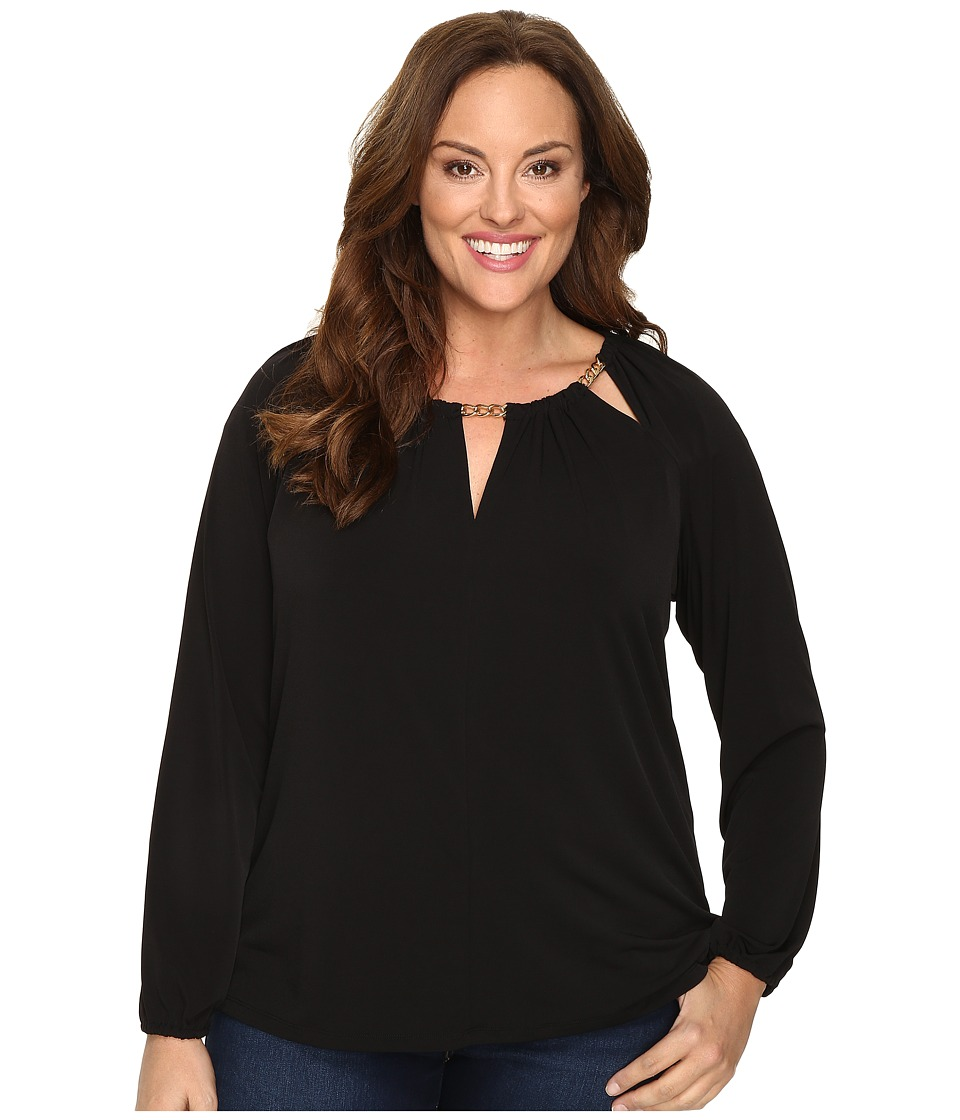 MICHAEL Michael Kors - Plus Size Chain Split-Neck Peasant Top (Black) Women's Clothing