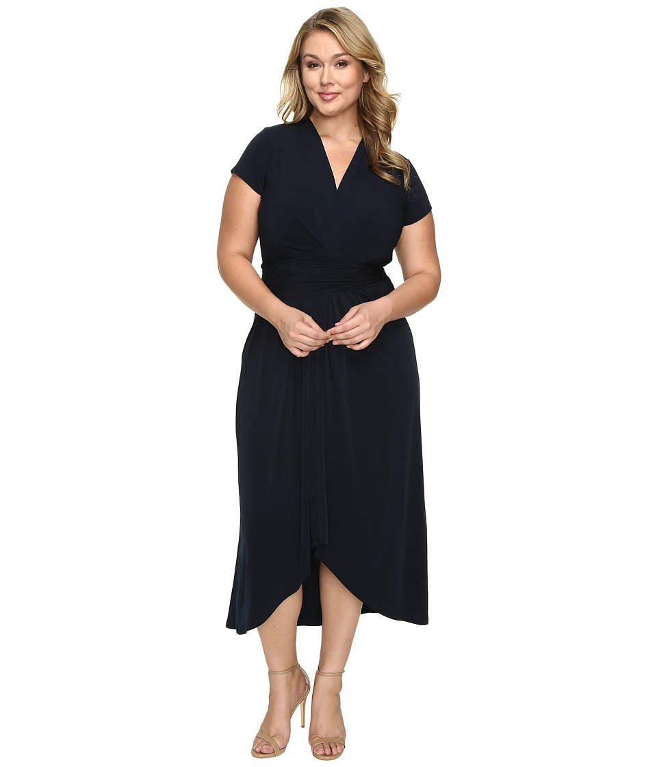 MICHAEL Michael Kors - Plus Size Cap Sleeve Maxi Wrap Dress (New Navy) Women's Dress