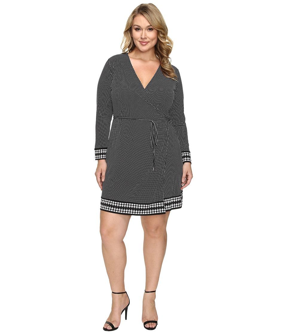 MICHAEL Michael Kors Plus Size Harget Border Wrap Dress (Black) Women