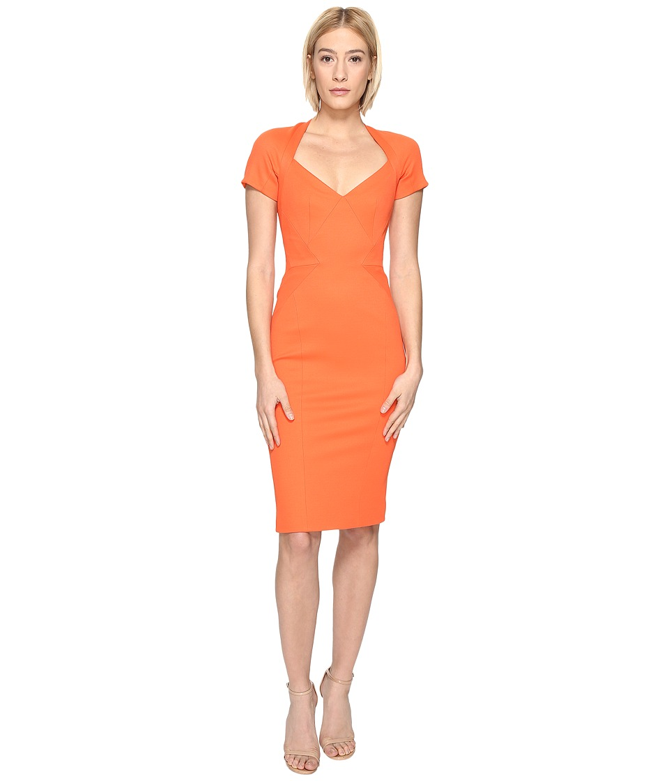 Zac Posen - Bondage Jersey Short Sleeve Dress (Orange) Women's Dress