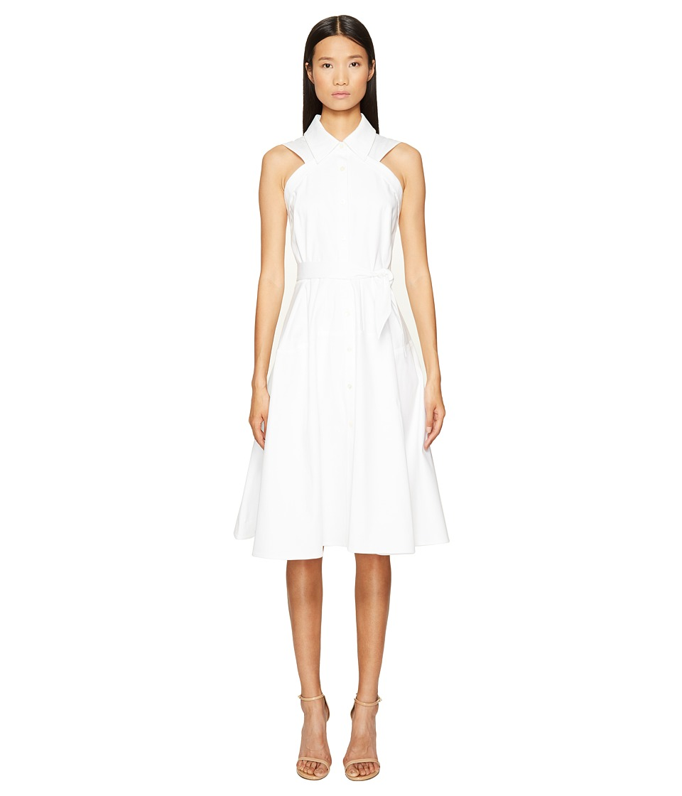 Zac Posen Bonded Cotton Sleeveless ShirtDress