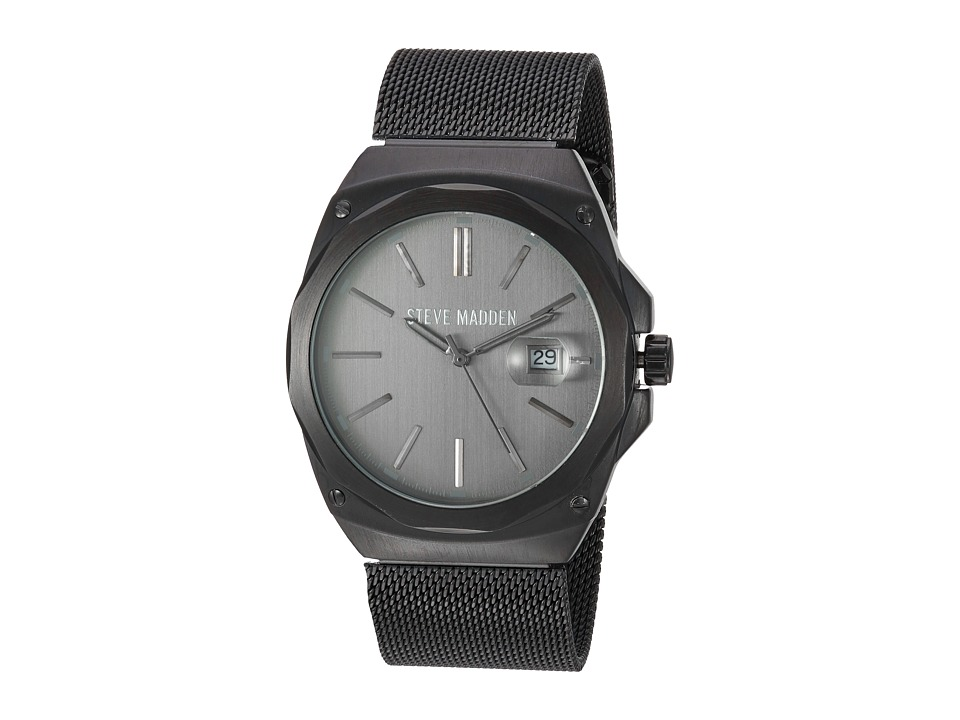 Steve Madden - Steel Mesh Band Watch (Black) Watches