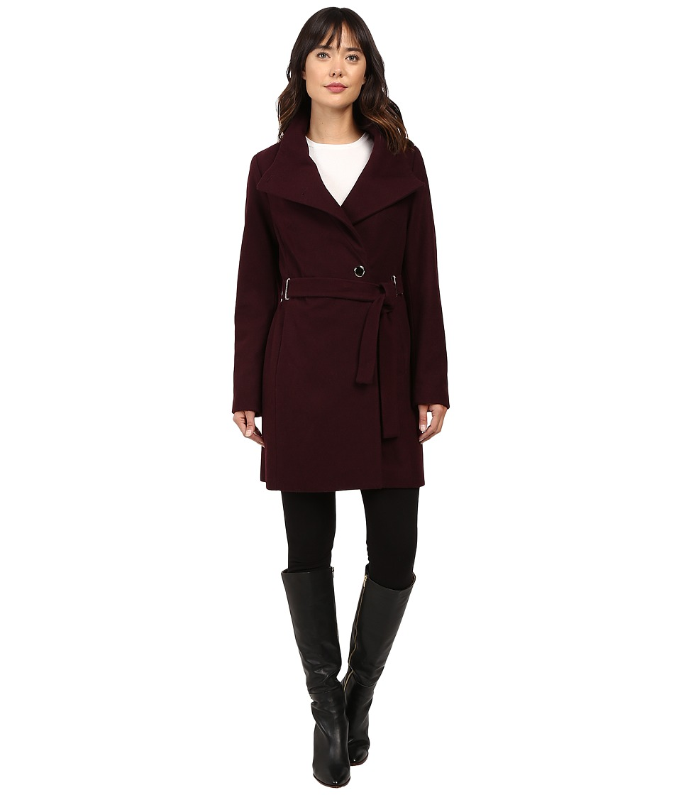 Ivanka Trump - Wool Coat with Hardware Clousure and Belt (Burgundy) Women's Coat