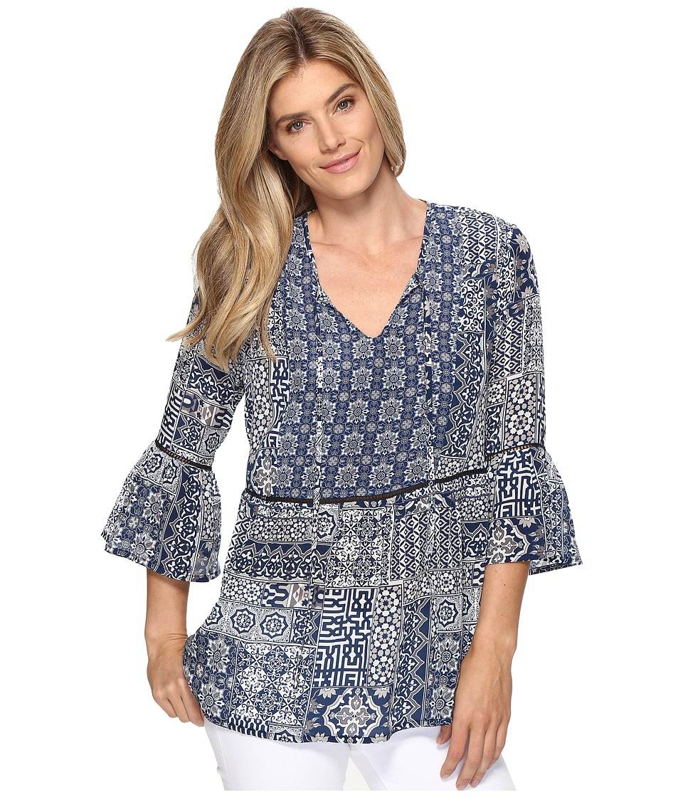 Tolani - Talia Blouse (Navy Patchwork) Women's Blouse