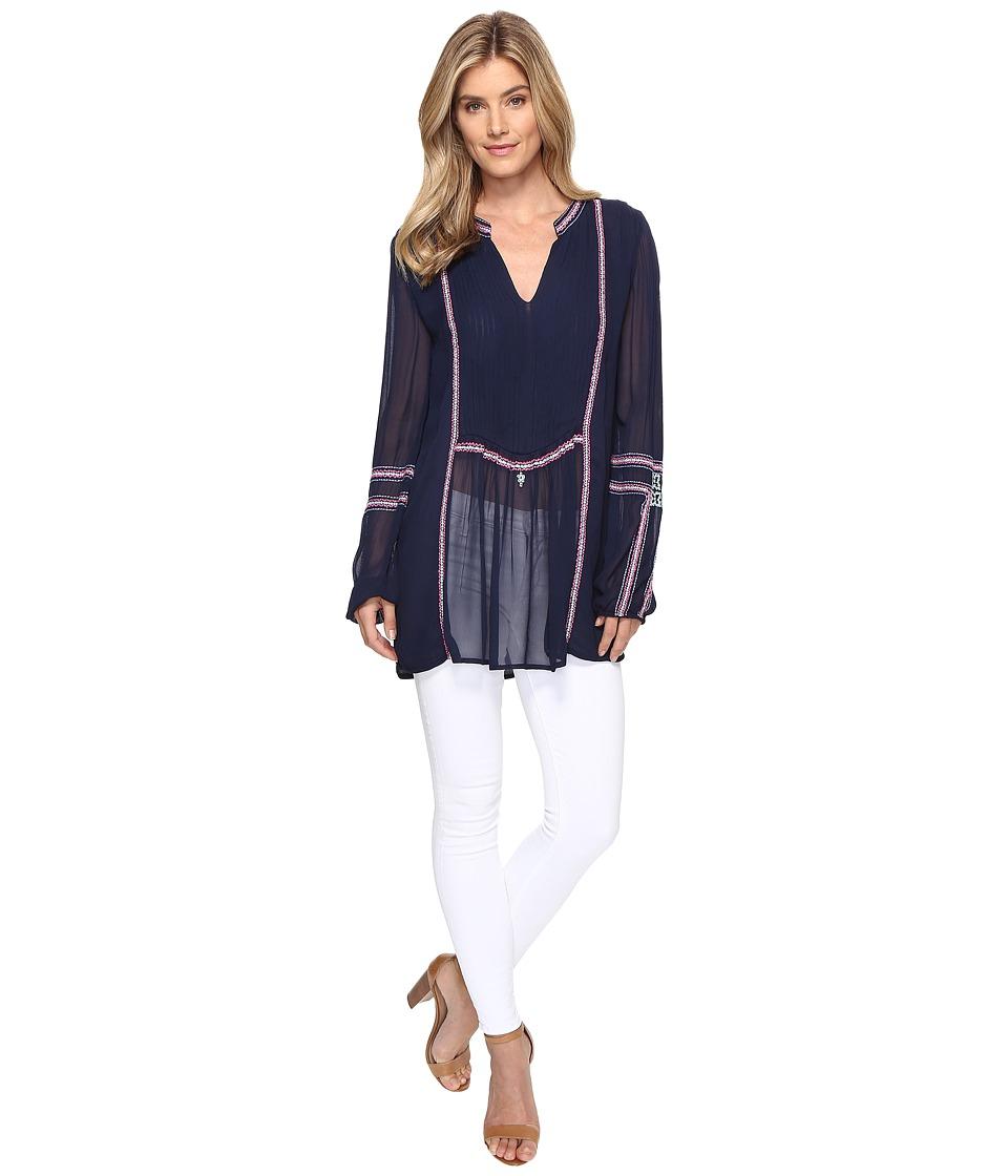 Tolani - Lani Embroidered Tunic Blouse (Navy) Women's Blouse