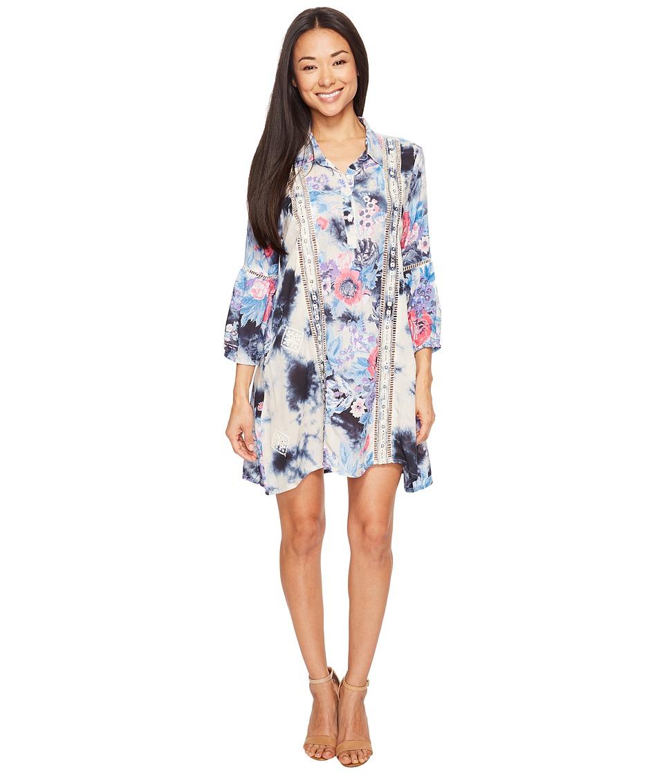 Tolani - Megan Embroidered Tunic Dress (Indigo) Women's Dress