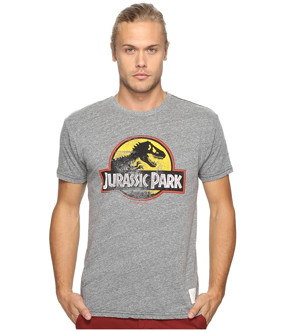 The Original Retro Brand - Short Sleeve Tri-Blend Jurassic Park Tee (Streaky Grey) Men's T Shirt