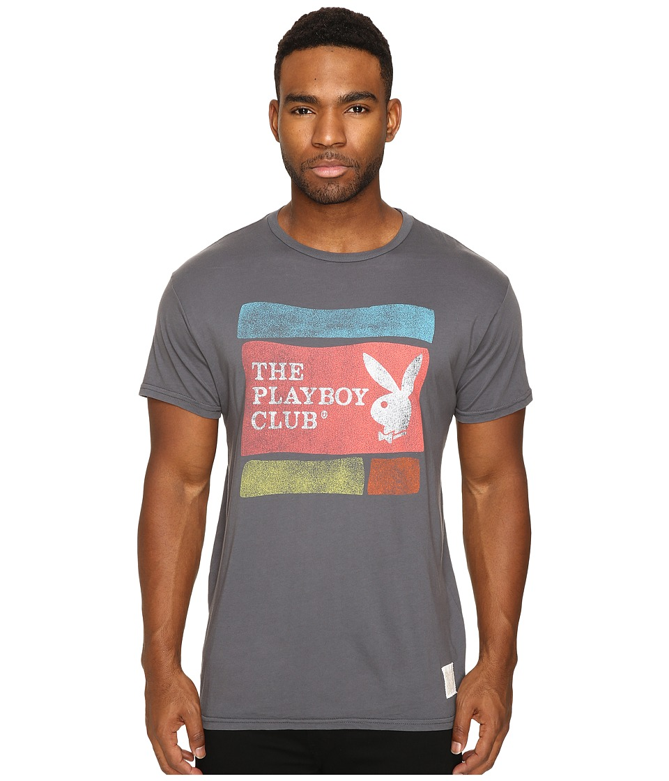 The Original Retro Brand - Vintage Cotton Short Sleeve Playboy Tee (Charcoal) Men's T Shirt