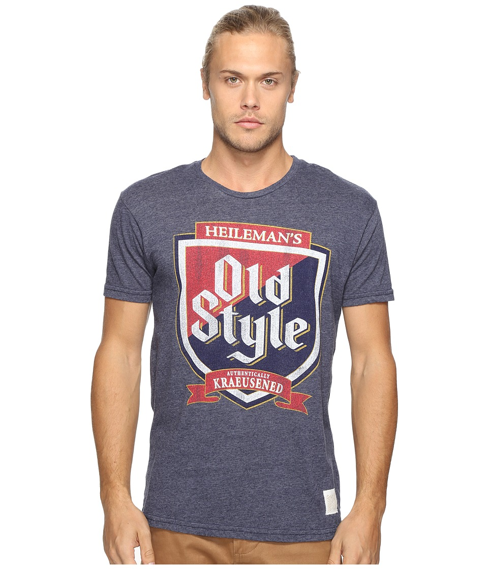 The Original Retro Brand - Short Sleeve Tri-Blend Old Style Tee (Streaky Navy) Men's T Shirt