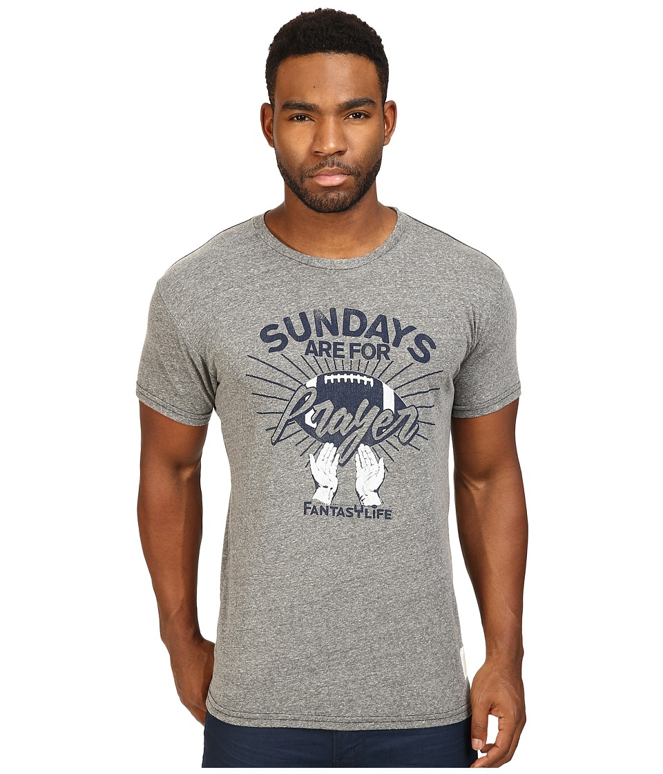 The Original Retro Brand - Sundays Are For Prayer Short Sleeve Tri-Blend Tee (Streaky Grey) Men's T Shirt