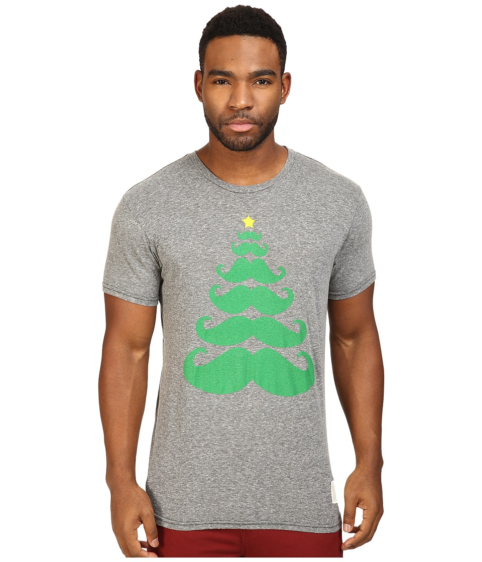 The Original Retro Brand - Mustache X Mas Tree Short Sleeve Tri-Blend Tee (Streaky Grey) Men's T Shirt
