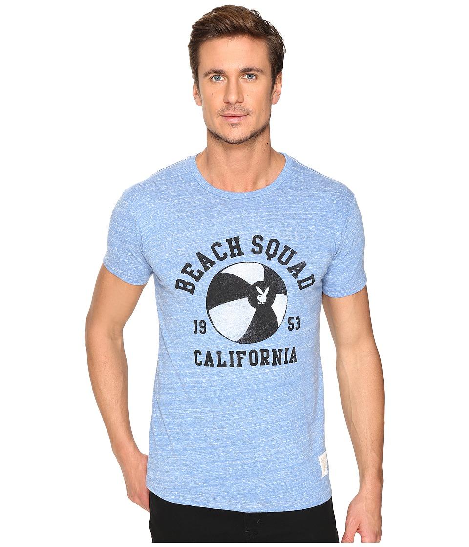 The Original Retro Brand - Short Sleeve Tri-Blend Playboy Beach Club Tee (Streaky Blue) Men's T Shirt