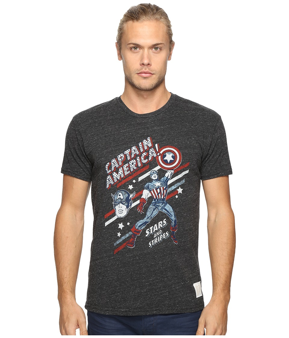 The Original Retro Brand - Short Sleeve Tri-Blend Captain America Tee (Streaky Black) Men's T Shirt