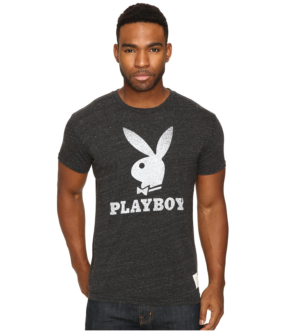 The Original Retro Brand - Short Sleeve Tri-Blend Playboy Bunny Tee (Streaky Black) Men's T Shirt