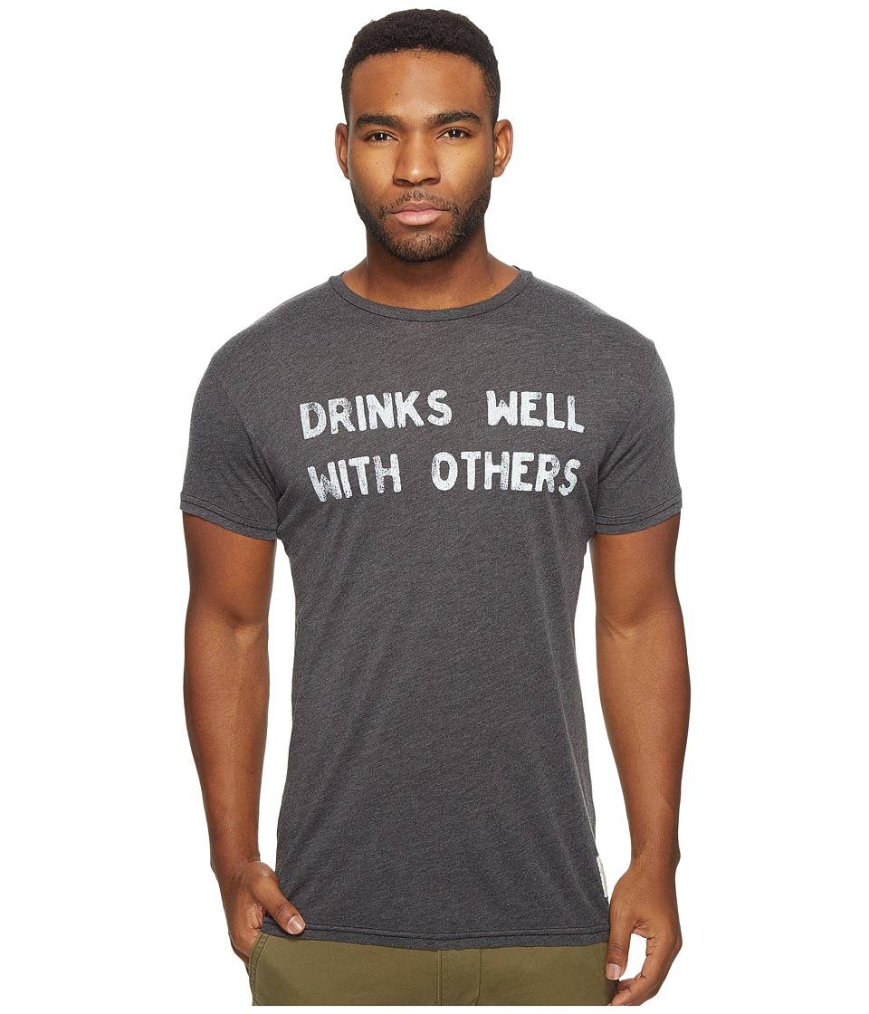The Original Retro Brand - Drinks Well with Others Short Sleeve Heather Tee (Heather Black) Men's T Shirt