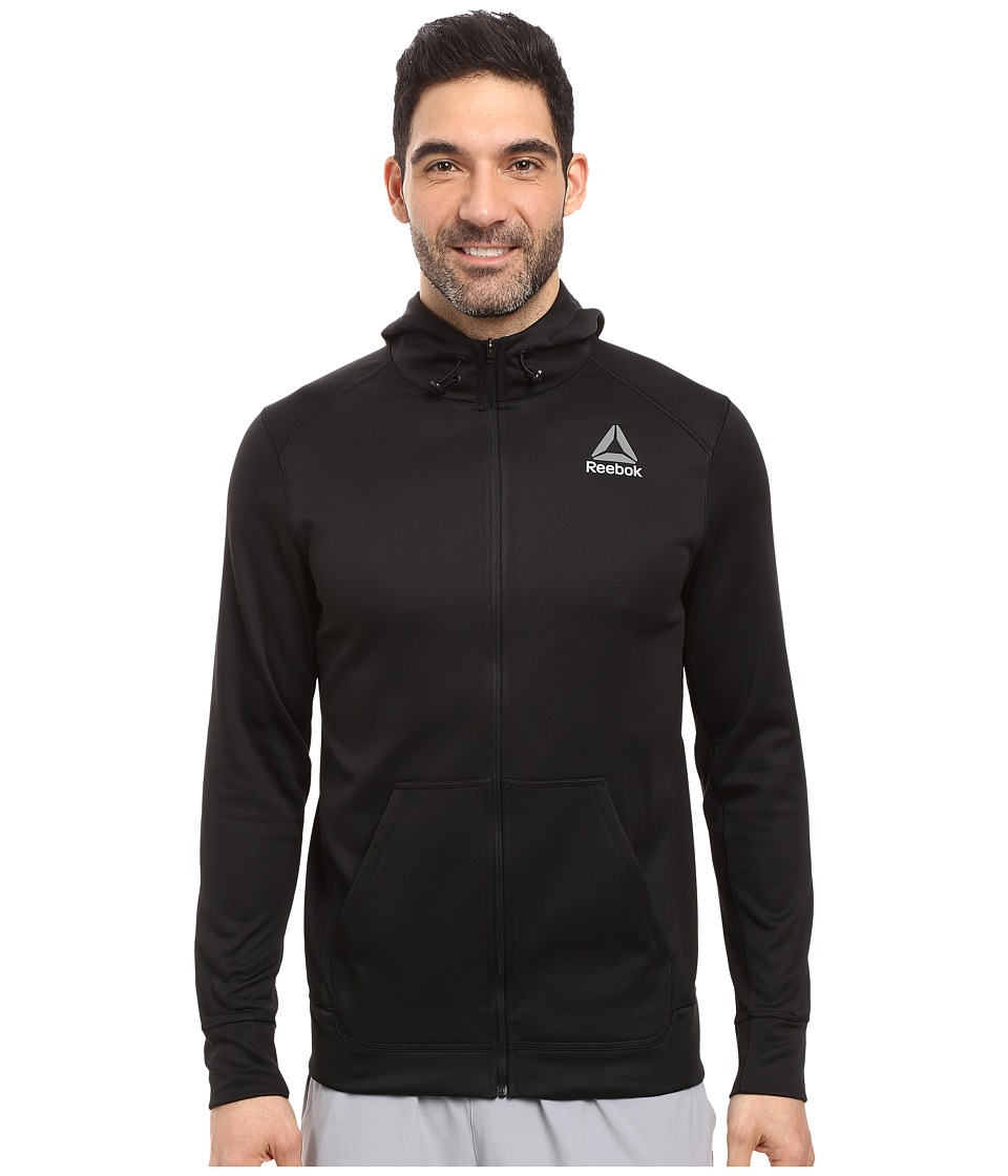Reebok - Work Poly Fleece Full Zip Hoodie (Black) Men's Fleece